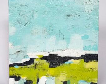 "Original Abstract Encaustic Landscape // ""Morning Commute 5"""
