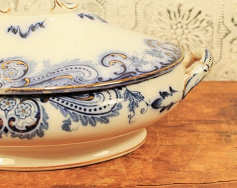 Flow Blue, Astoria Stoke on Trent, Stoke on Trent England, Covered Serving Dish, English Pottery