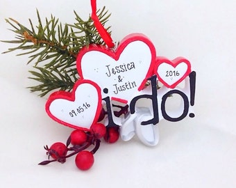 FREE SHIPPING I Do Hearts & Wedding Bands  / First Christmas Ornament / Personalized Ornament
