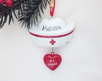 Nurse Hat Personalized Christmas Ornament - Nurse Ornament - Personalized Ornament - Custom Name or Message