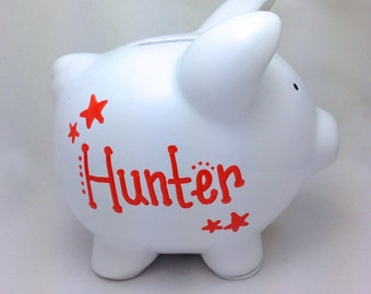 CLEARANCE: Small Personalized Ceramic Piggy Bank - Plain White