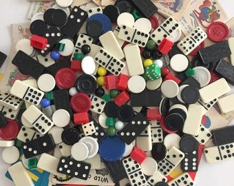 Mixed Lot of Vintage Game Pieces- Othello, Dominoes, Chinese Checkers Marbles, Monopoly, Spot and Stripes Cards, Checkers, Old Maid, Snap