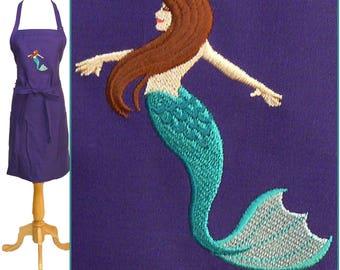 Beautiful Mermaid Apron Child Youth or Adult Size + Free Name Monogram Custom Embroidered Art Smock