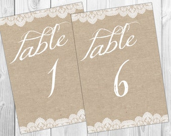 Burlap table numbers burlap table number Matrimonio Brown table numbers rustic table numbers burlap tags southern wedding party table number
