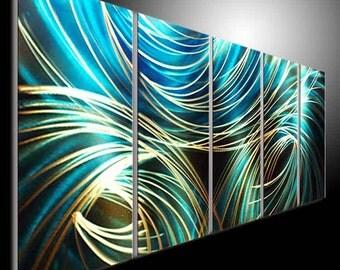 METAL painting art modern home office sculpture golden wall decor hand mdae blue Original by tomouk