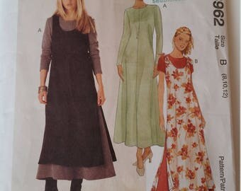 Vintage Easy McCall's Sewing Pattern 8962 Misses' Dress and Overdress in Sizes 8, 10, 12