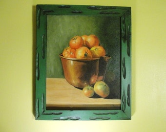 Still Life Tomatoes In Copper Bowl & The Play of Reflections that Give it Life. Green Red Orange