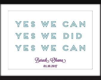 """Barack Obama """"Yes We Can"""" Quote - A3/A4/A5  11""""x14"""" / 8""""x10"""" / 5""""x7"""" Print, Typography Artwork"""