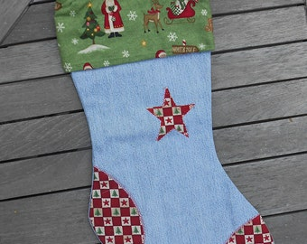 Charming Country Christmas Denim Stocking with Star, CR#0104