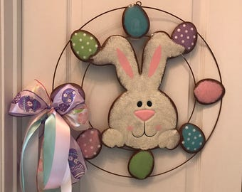 Easter wreath, wire wreath with easter eggs, Easter bunny wreath, Peter Rabbit wreath, spring wreath, Easter rabbit and eggs wreath