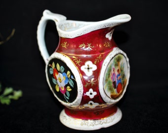 Beautiful Triangular creamer,  Antique pitcher floral, We have a large selection of antiques, Great Gift Idea  #356