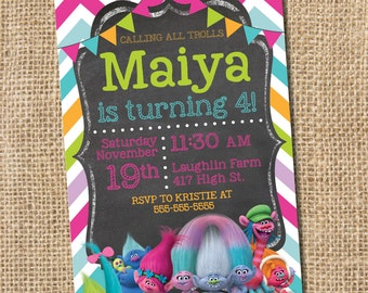 Trolls Birthday Invitation  - PRINTABLE