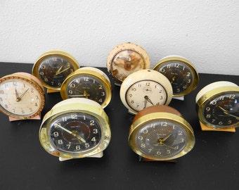 Vintage Set of 9 Mid Century Baby Ben Wind Up Clocks Lot
