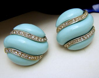 Crown Trifari Earrings Turquoise Lucite Rhinestones Silver Tone Clip Ons