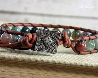 Beaded Bracelet, Leather Bracelet, Wrap Bracelet Fancy Jasper, Bohemian Jewelry