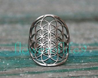 Flower of life ring I - Stainless Steel