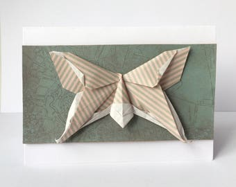 Handmade Origami Butterfly Greeting Card, A6