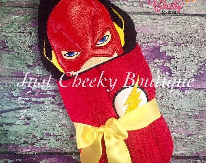 Lightning Hero Inspired Hooded Towel - Flash - Barry Allen - DC Birthday - Superhero Birthday