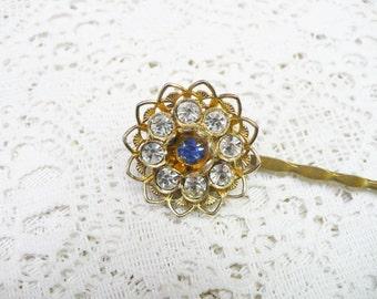 SINGLE Blue and Clear RHINESTONE Bobby Pin - gold tone metal - Filigree setting  - BRIDESMAID - Bridal Wedding hair pin - something blue