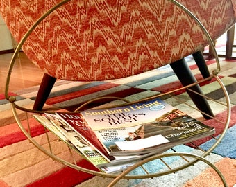 Vintage Retro Mid Century Modern Magazine Rack Gold Metal Wire Rack with Handle