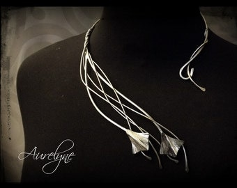 """Torc necklace asymmetrical stainless Conte """"The Leprechauns"""" volubilis leaves and plant dreamy elf fairy tracery"""