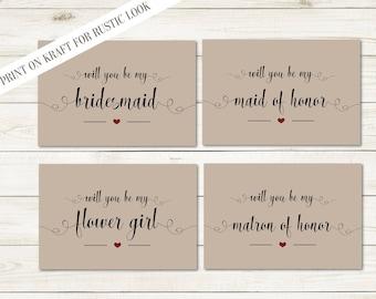 Will You Be My Bridesmaid Printable set, DIY Wedding cards, Bridal Proposal, Bride Bridal Printable Rustic Wedding, DIGITAL FILES WS14