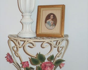 Large Vintage Tole Wall Shelf with Pink Roses- Shabby / Cottage Decor