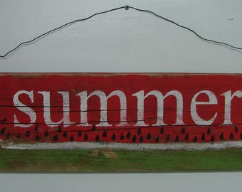 Summer Wood Watermelon Sign