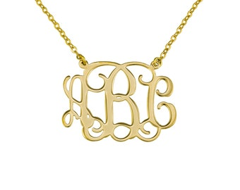 "Monogram Necklace 1.5"" Personalized Initial-Sterling silver Plated with 18k gold. gift for her, personalized jewelry"