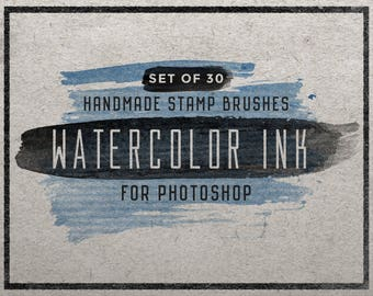 Set of 30 Watercolor Ink Photoshop stamp brushes - Watercolor brushes - Ink brushes - Digital brushes