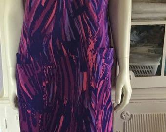 60s mod vintage dress made in Finland Finn flare. Scandinavian retro pattern.  Mid century modern dress. Purple and pink cotton