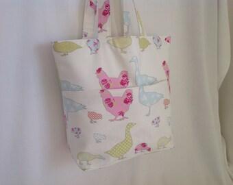 Fabric Tote Bag, Pastel Duck and Hen Design, Beach Bag, Shopper, Hand Bag