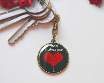 Home is where your heart is, Quote keychain, Red chalkboard Keychain, Bronze tone, Silver tone, personalized gift for women, KC001-2
