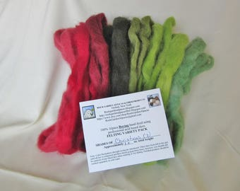 1.0 oz. Alpaca Roving - Hand Dyed - Shades of Christmas - Felting Variety Pack
