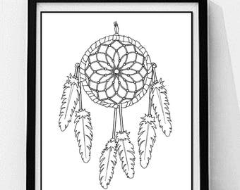 simple dream catcher coloring page adult coloring page instant digital download digital digi - Dream Catcher Coloring Pages
