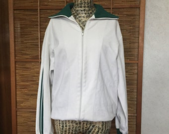 Vintage Adidas BRD/ W Germany West Gremany white & green zip up track jacket
