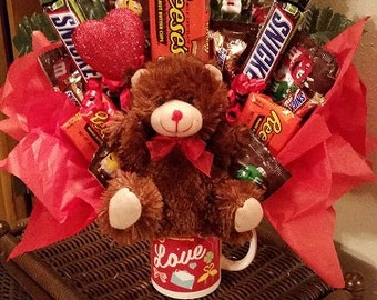 Assorted Chocolate and Bear Candy Bouquet Happy Birthday Candy Bouquet Birthday Candy Birthday Bouquet