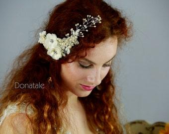 ON SALE Babies breath hair vine, Bridal hair comb,Wedding Hair piece, Bridal Headpiece ,Lace Wedding Hair Comb , Wedding Hair Flower -PETRA