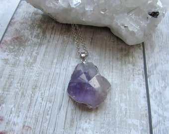 Amethyst Top Point Pendant Raw Rough Rock Crystal Section Necklace Irregular Shape Point