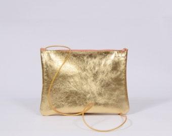 Claire - golden leather purse