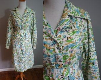 1970s Dress // Landscape Novelty Print // Large