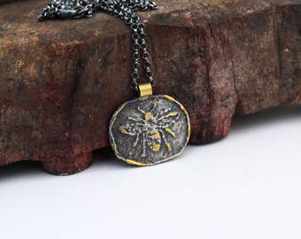 Bee pendant necklace. Silver and gold pendant necklace with etched bee. Sterling silver bee necklace. Rustic pendant necklace. Bee jewelry