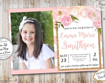 INSTANT DOWNLOAD - Editable LDS Baptism Invitation - Floral Glitter - Girl Baptism Invitation  - Printable baptism Announcement - Mormon
