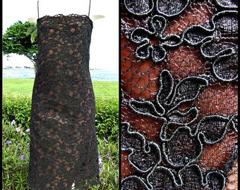 Guipure Lace Dress / Vintage Black Lace Dress / fits XS / Black lace Dress / vintage LBD / Black Lace over Cocoa Satin