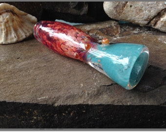 Magenta and Turquoise Glass Pipe Inspired by the Sea