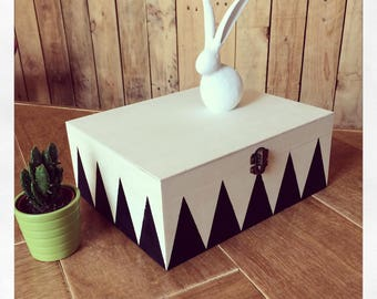 Wooden storage box scandi mcm black keepsake painted