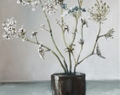 Queen Ann's Lace in a Small Ceramic Cup- Original Floral Still Life Oil Painting- Light Flower Minimalist Art- Summer Field Flowers
