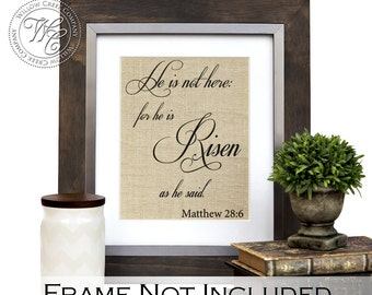 Easter Decor, Easter Home Decor, He is Risen Sign, Easter Wall Art, Rustic Easter Decoration, He is Risen Wall Decor, Matthew 28:6