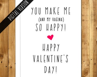 Valentine Card Printable. Printable Valentine Cards Naughty. Digital Download. Instant Download . You Make Me So Happy