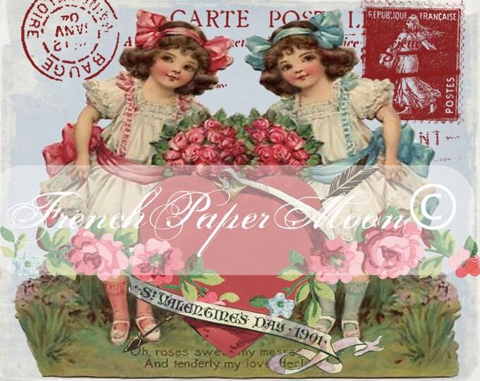 Vintage Children Digital Shabby French Valentine Postcard, Roses, Hearts, Valentine Pillow Transfer Graphic, Iron on